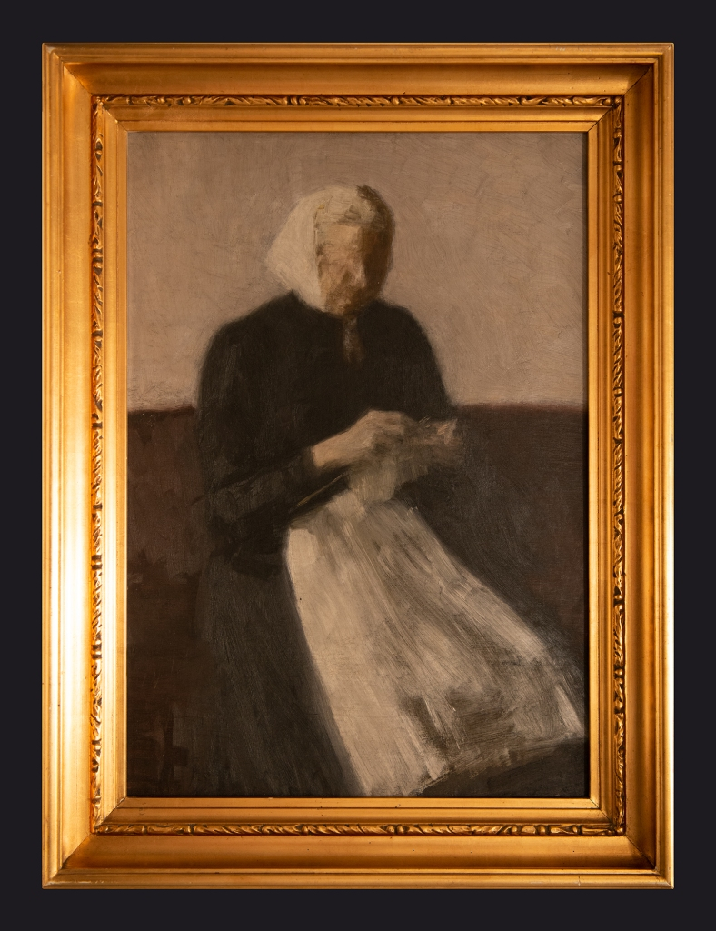 1889, Woman Knitting. The Artist's Mother by Leslie Hossack