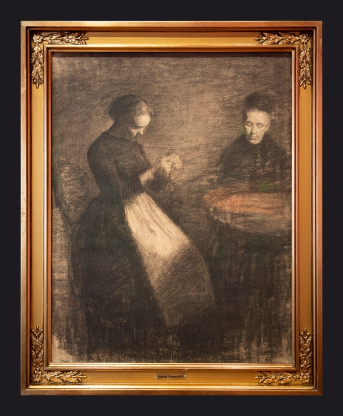 1891, Evening in the Drawing Room. Two Women at a Round Table by Leslie Hossack