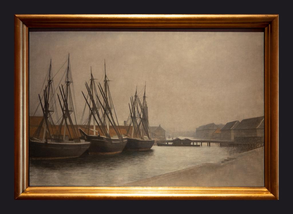 1905, Three Ships, Christianshavn Canal by Leslie Hossack