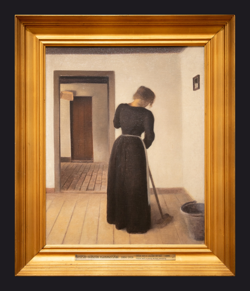 73 1899 Interior with a Young Woman Sweeping by Leslie Hossack