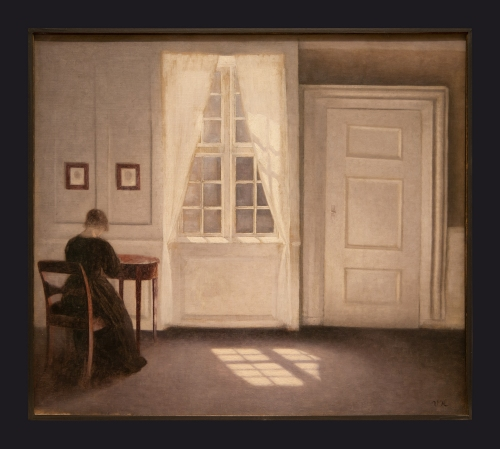 74 1901, Interior in Strandgade, Sunlight on the Floor; A Room in the Artist's Home in Strandgade, Copenhagen, with the Artist's Wife by Leslie Hossack